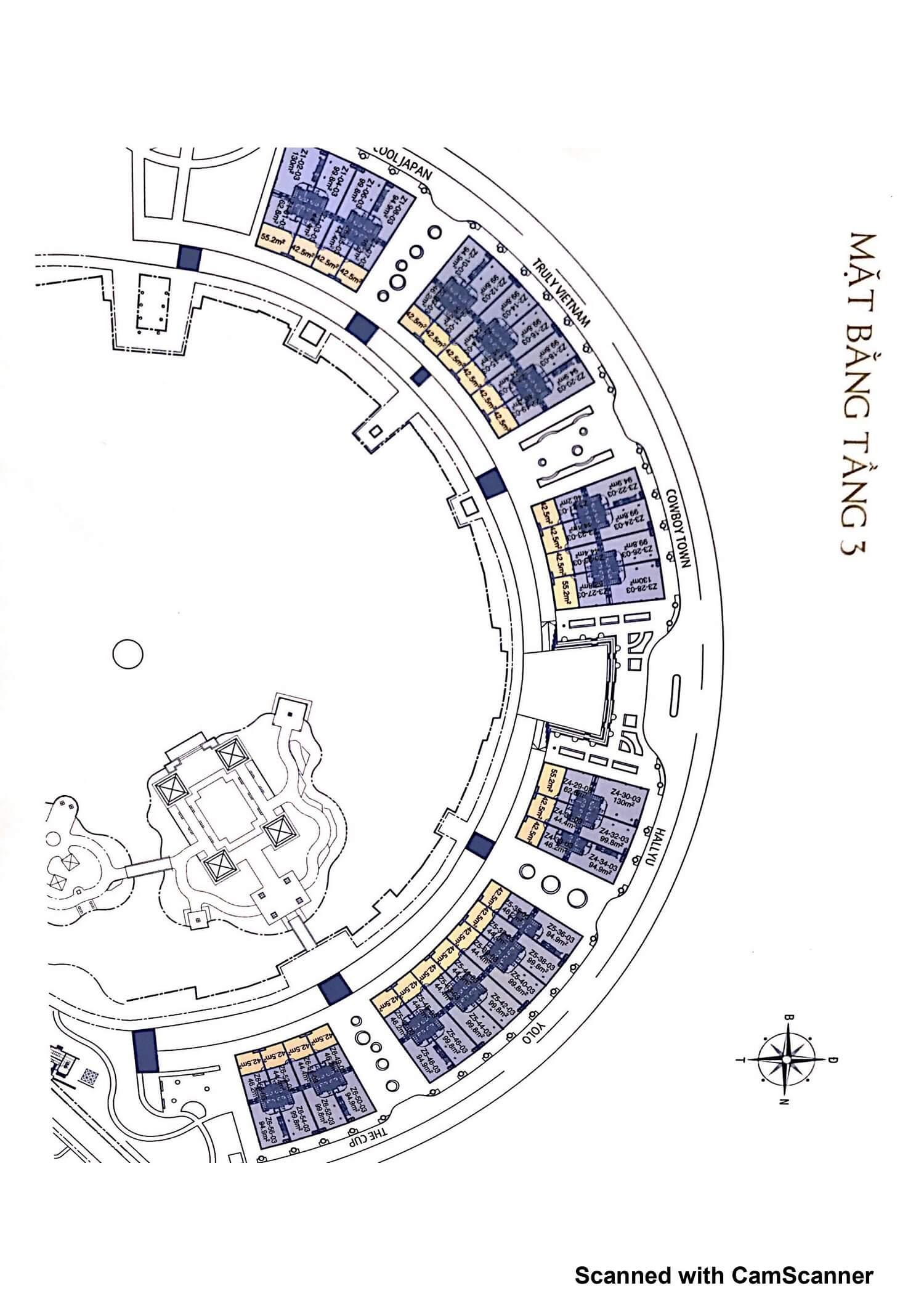 Mặt bằng tầng 3 Nhà phố Leparc Gamuda