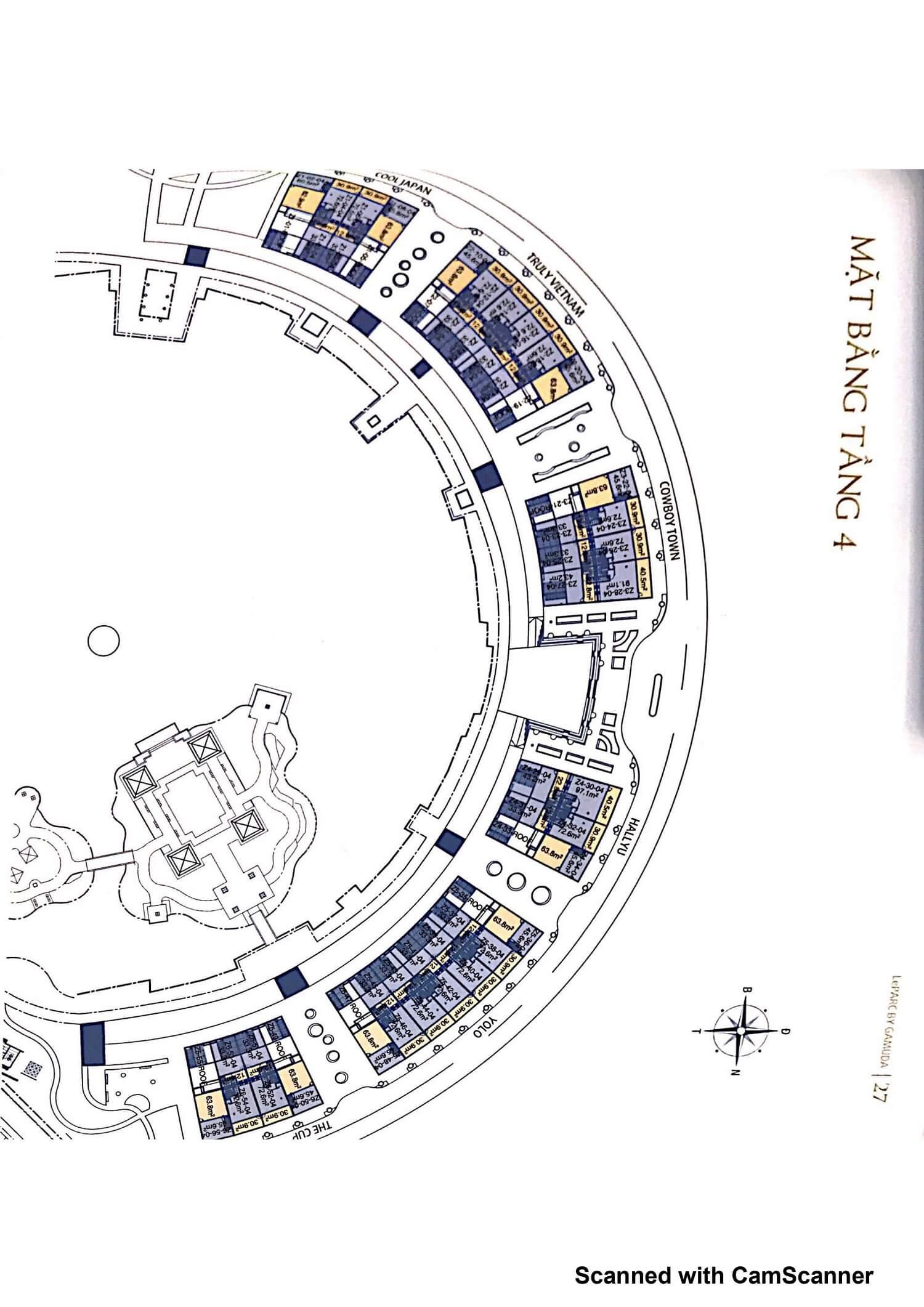 Mặt bằng tầng 4 Nhà phố Leparc Gamuda