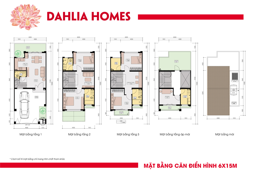 Mặt bằng căn thường 6x15 liền kè gamuda hoàng mai St5 dhlia Homes