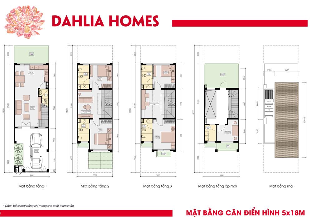 mặt bằng điển hình căn thường 5x18 liền kè gamuda hoàng mai St5 dhlia Homes